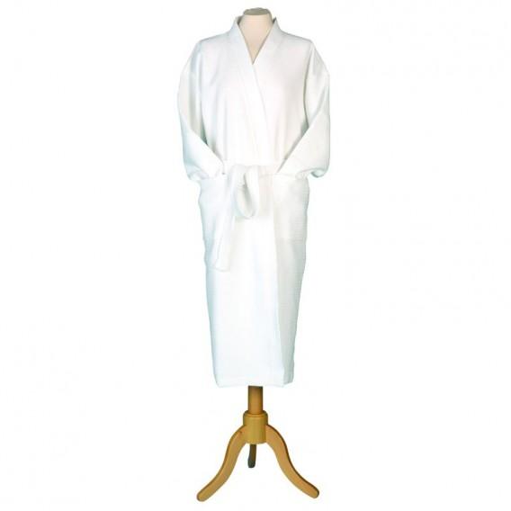 Extra Large Kimono Waffle Robe White