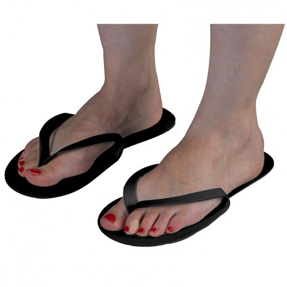 Disposable Black Flip Flops x 12 pairs
