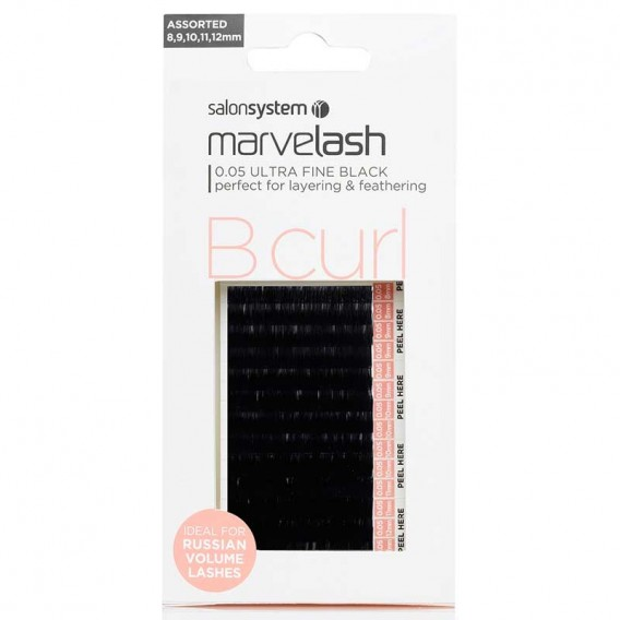 Marvelash B Curl Lashes 0.07 Extra Fine Assorted Lengths Black x 7500 by Salon System
