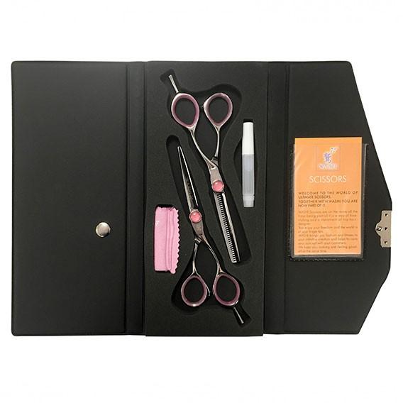 Washi Pink Stone 5.5in Offset Scissor + Thinner Set