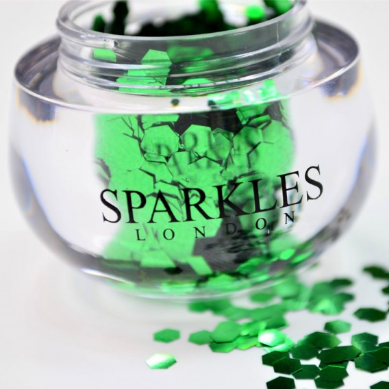 Sparkles London Perry Big & Chunky Emerald Green Face Glitter