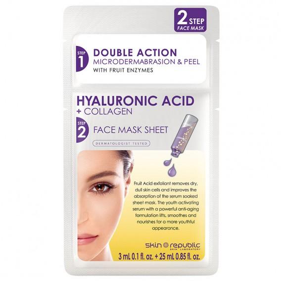 Skin Republic 2 Step Hyaluronic Acid & Collagen Face Sheet Mask