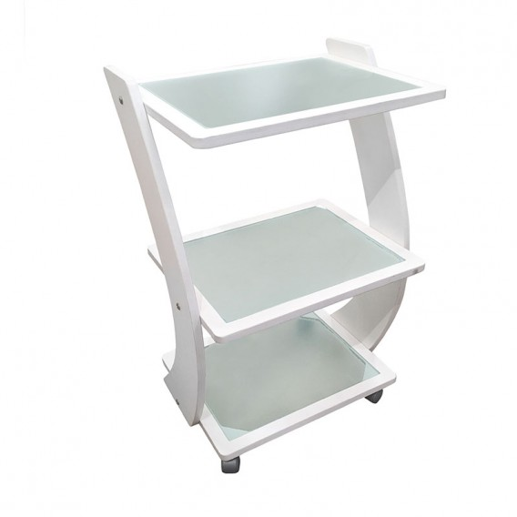 Vismara Hosi Trolley in Bleached Maple With Glass Shelves