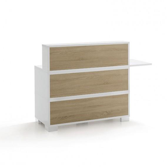 Vismara Swing Reception Desk in White Gloss with Bardolino Oak