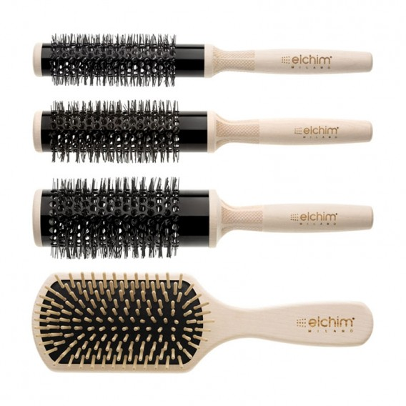 Elchim Wooden Thermal Brush Set x 4