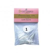 Glitterbels Clear Stiletto Nail Tips Size 1 (x50)