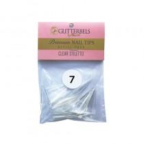 Glitterbels Clear Stiletto Nail Tips Size 7 (x50)