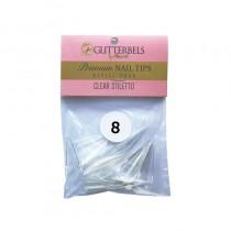 Glitterbels Clear Stiletto Nail Tips Size 8 (x50)
