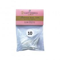 Glitterbels Clear Stiletto Nail Tips Size 10 (x50)
