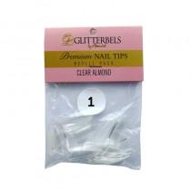 Glitterbels Clear Almond Nail Tips Size 1 (x50)