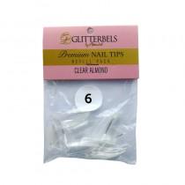 Glitterbels Clear Almond Nail Tips Size 6 (x50)