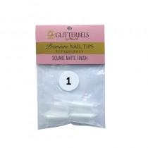 Glitterbels Square Matte Finish Nail Tips Size 1 (x50)