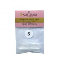 Glitterbels Square Matte Finish Nail Tips Size 6 (x50)
