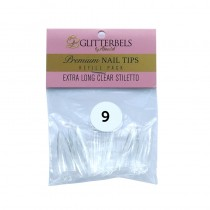 Glitterbels Extra Long Clear Stiletto Nail Tips Size 9 (x50)