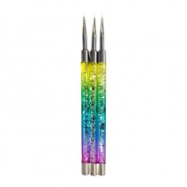 Glitterbels Rainbow Fine Detailer Brush Set x 3 Bushes