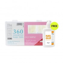 The Edge Olympic Tips x 360 Assorted (Boxed) with FREE 28g Nail Glue