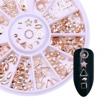 Rose Gold 3D Metal Shapes For Nail Art (Approx 240 Pieces)