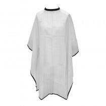 Salons Direct White Pinstripe Barber Cape with Popper Fastening