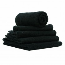 Chlorine Resistant Dyed Black Towels x12