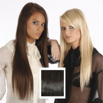 Universal 18in Very Dark Brown 2 Clip in Human Hair Extensions 105g