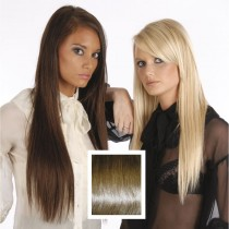 Universal 18in Medium Light Brown 8 Clip in Human Hair Extensions 105g