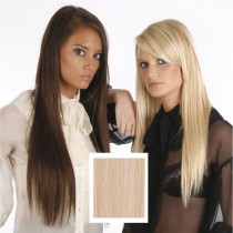 Universal 18in Light Golden Honey Blonde 16 Clip in Human Hair Extensions 105g