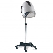 REM Elite Next Generation White Mobile Hood Dryer with Pole + Base