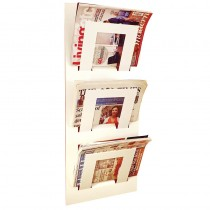 Three Tier Wall Mounted Magazine Rack White
