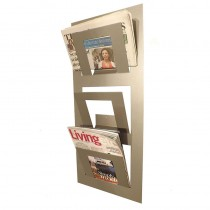 Three Tier Wall Mounted Magazine Rack Metallic Silver