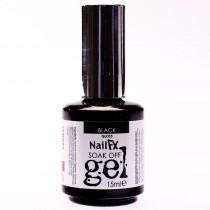 NailFX Black Soak Off Coloured Gel Polish 15ml