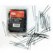 "Hair Tools Plain Pins 3"" Black x 500"