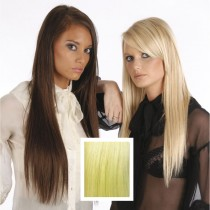 Universal 18in Frosty Blonde Clip in Human Hair Extensions