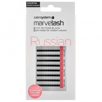 Marvelash Russian 3D Fan Lashes 0.07 Assorted Sizes 8, 9, 10, 11, 12mm Black