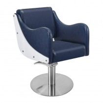 Lotus Senna Blue Styling Chair With Round Base