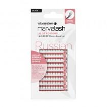 Marvelash B Curl Russian Lashes 0.07 6D Fan Ultra Fine Assorted Lengths Black x 100 by Salon System