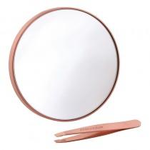 Tweezerman Rose Gold Mini Slant Tweezer & 10x Mirror Duo