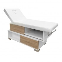 Vismara Swing Massage Bed In White Gloss With Bardolino Oak