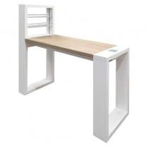 Vismara LED Living Table Without Aspirator In Matte White With Bardolino Oak