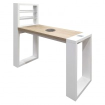 Vismara LED Living Table With Aspirator In Matte White With Bardolino Oak