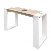 Vismara Living Table With Air Filter In Matte White With Bardolino Oak