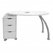 Vismara Brio Easy Nail Table With Aspirator In White Larch