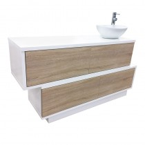 Vismara Swing H2O Mixer Wash Unit in White Gloss with Bardolino Oak