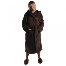 Large Ultrasoft Fleece Robe Shawl Collar Chocolate