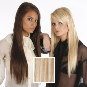 Universal 18in Honey Blonde/Light Brown Mix P18/613 Clip in Human Hair Extensions 105g