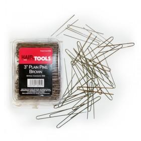 """Hair Tools Plain Pins 3"""" Brown x 500"""